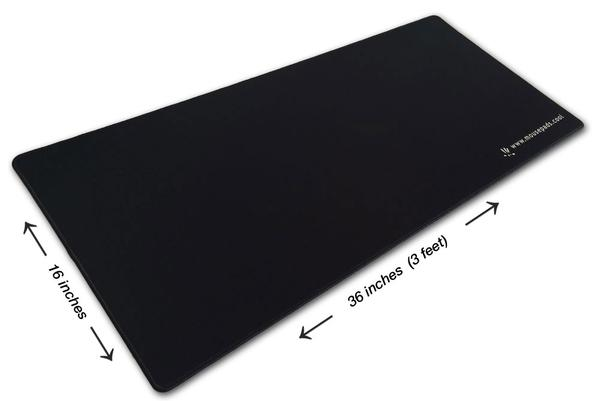 3 Foot Solid Black Pad-Zilla® Gamer Series - (Tracking Surface + Sewn Edges)