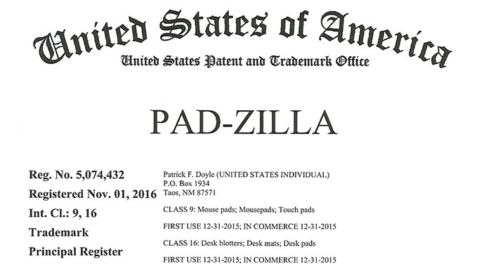 Pad-Zilla® Registered Trademark Awarded